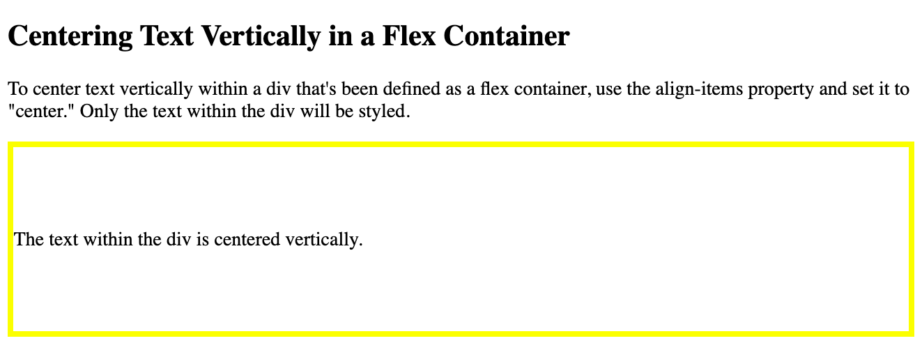 Text in a flex container is centered vertically using the align-items property in CSS-1