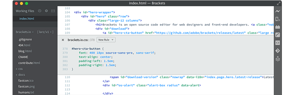 Coding in Brackets, one of the best CSS code editors