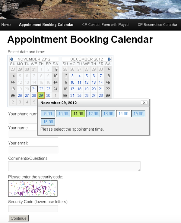 Appointment booking form created with the Appointment Booking Calendar plugin for WordPress