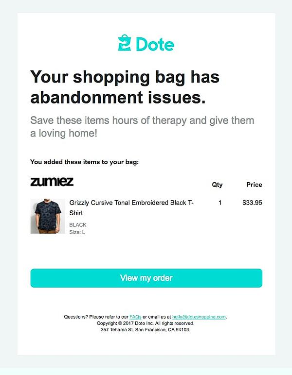 Dote uses humor in abandoned cart email.