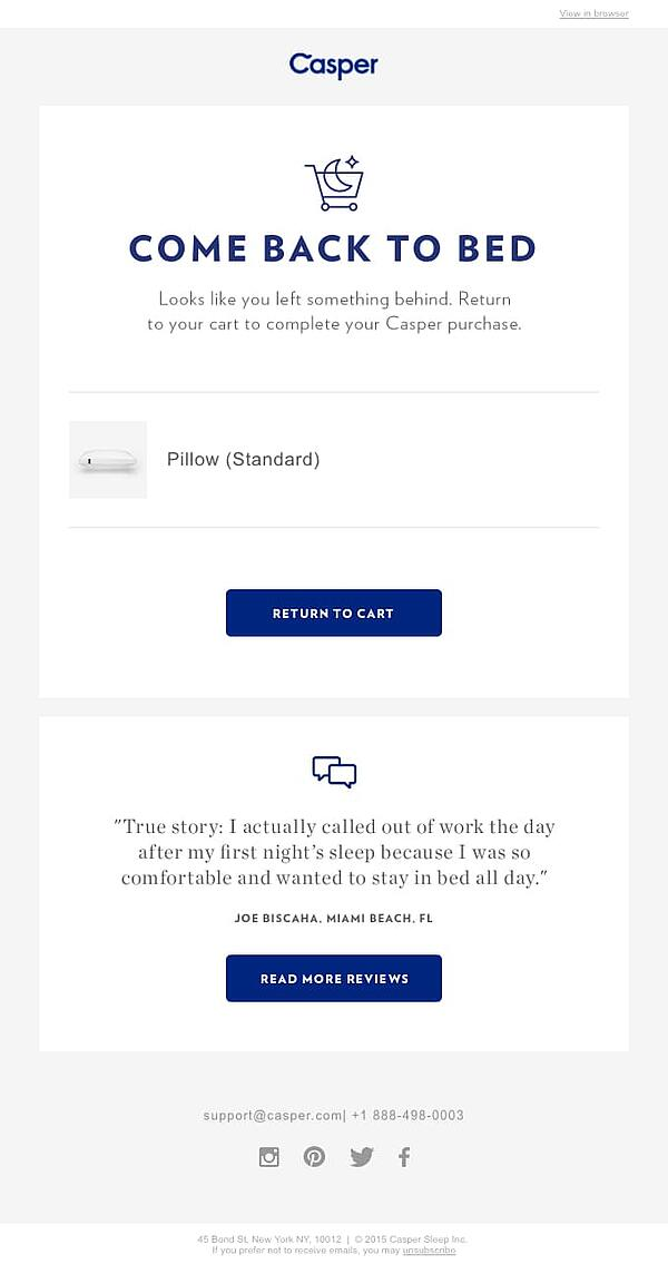 Casper uses clean design in abandoned cart email.