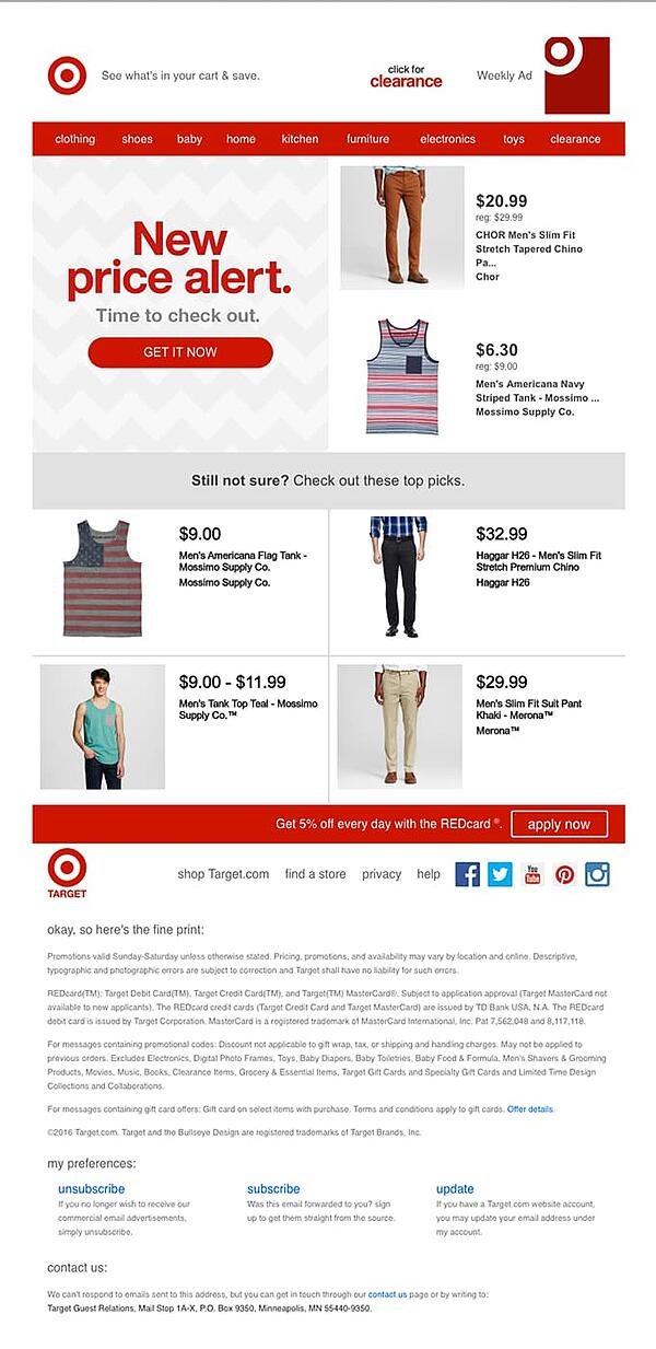 Target uses discounts in abandoned cart email.