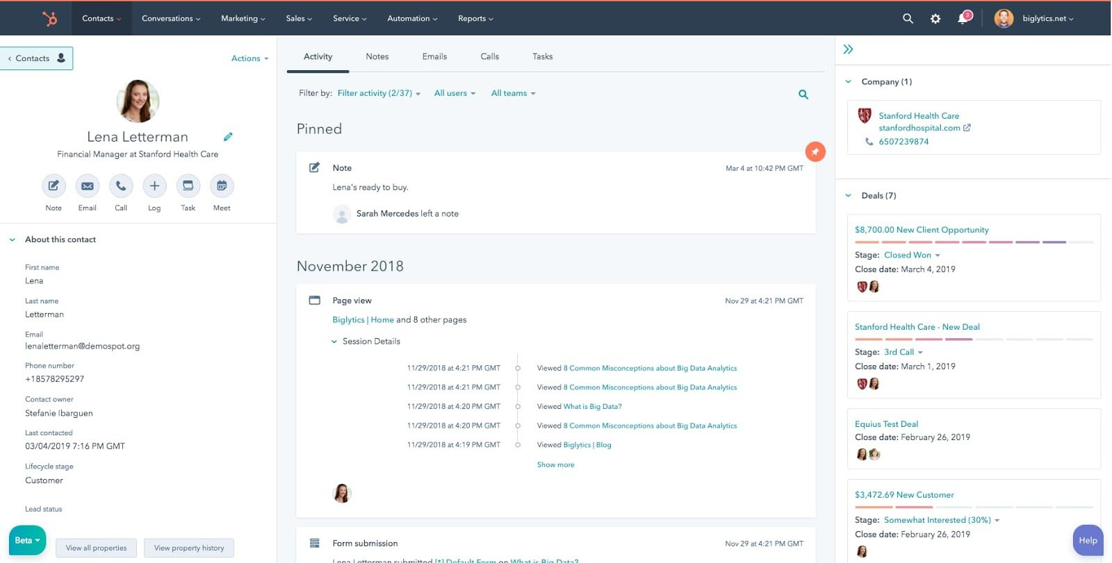 Free contact management software by HubSpot