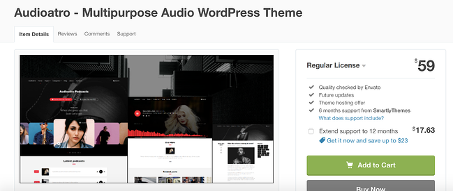 Audiotara wordpress theme for podcasts