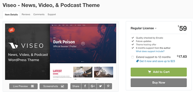 viseo  wordpress theme for podcasts download page