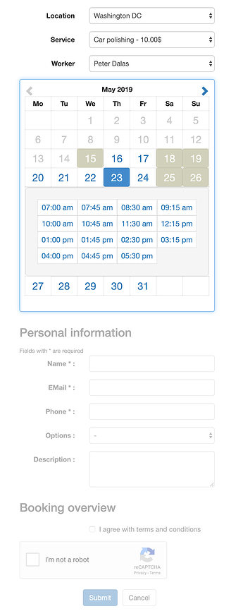 Custom booking form created with Easy Appointments Wordpress Plugin