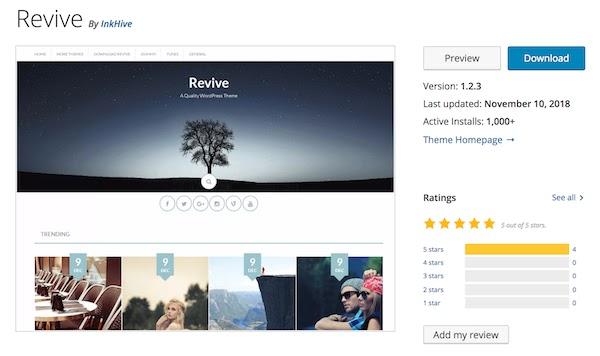 Revive free WordPress blogging theme