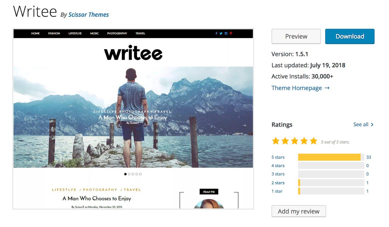 Writee free WordPress blogging theme