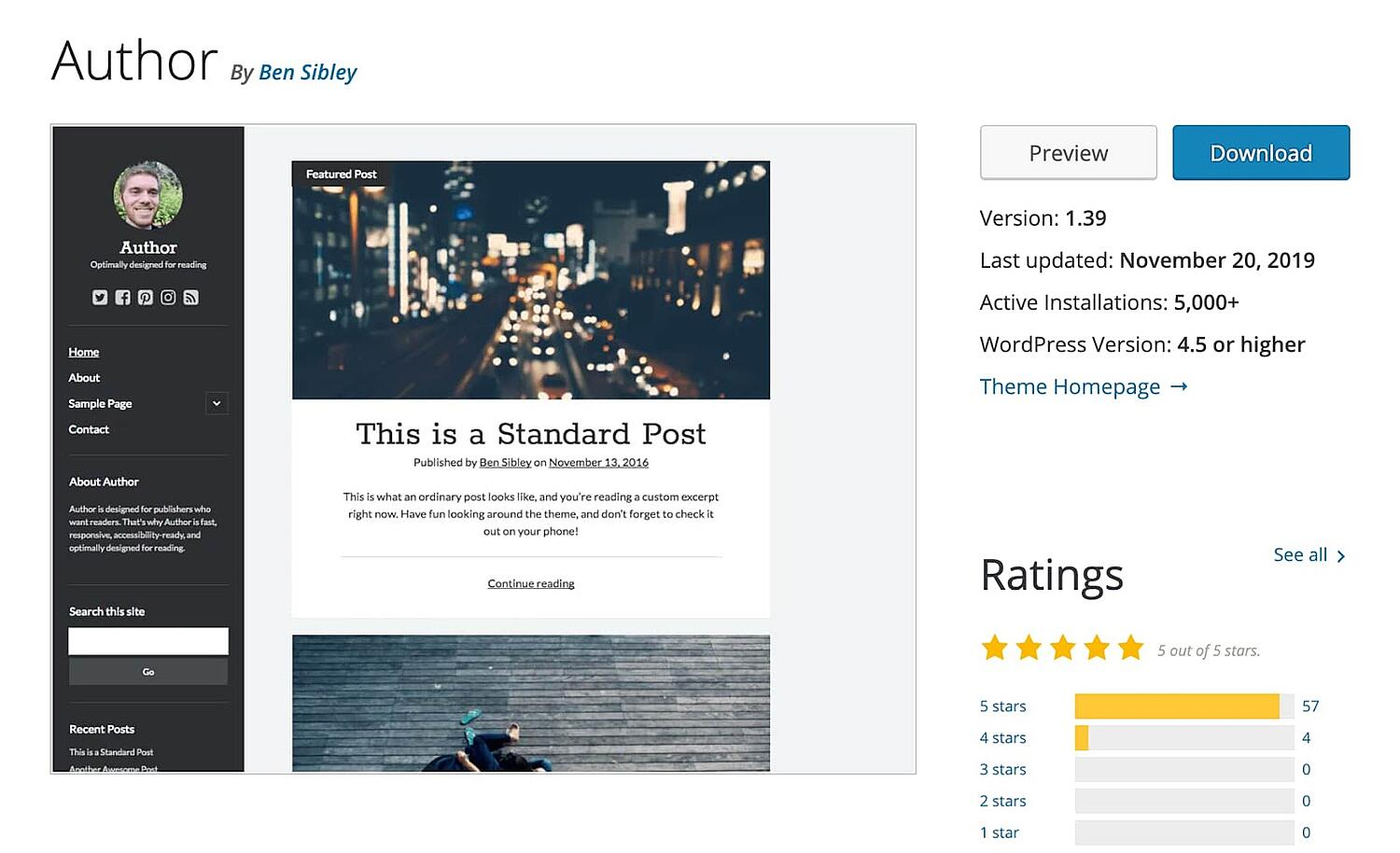 Author free WordPress blogging theme