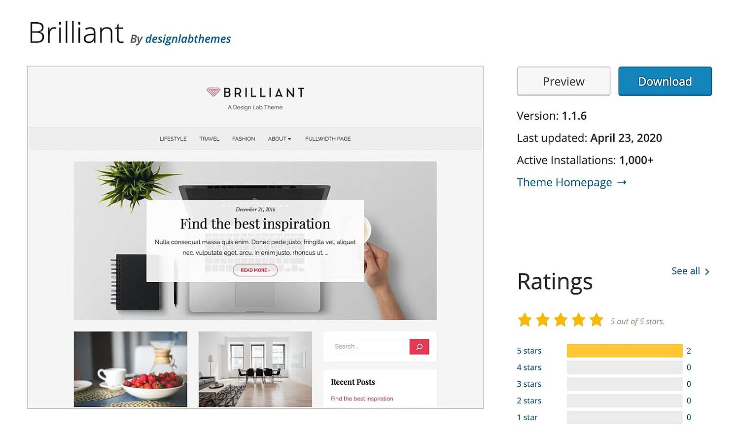 Brilliant free WordPress blogging theme