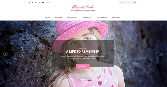 Elegant Pink free WordPress blogging theme