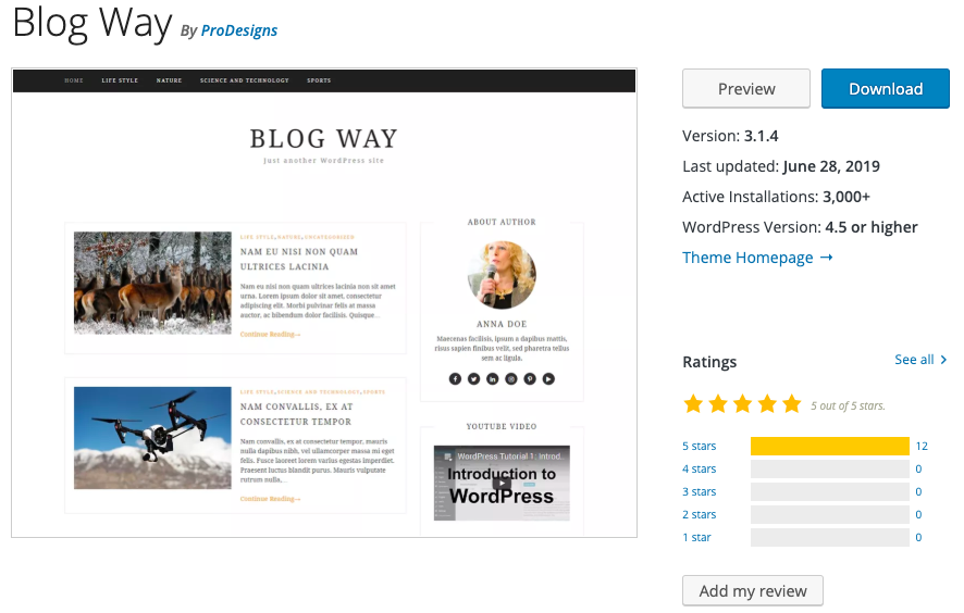 Blog Way free WordPress blogging theme