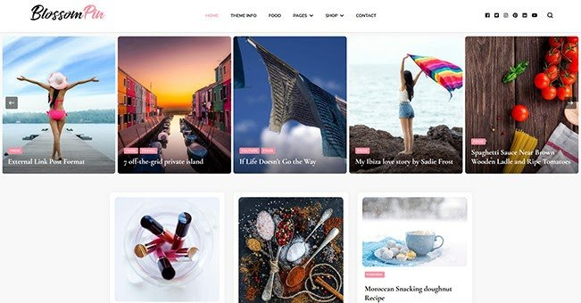 Blossom Pin free WordPress blogging theme
