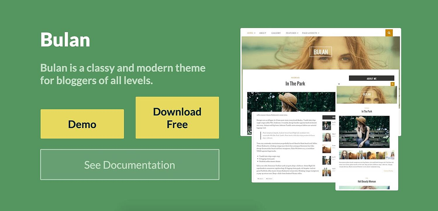 Bulan free WordPress blogging theme