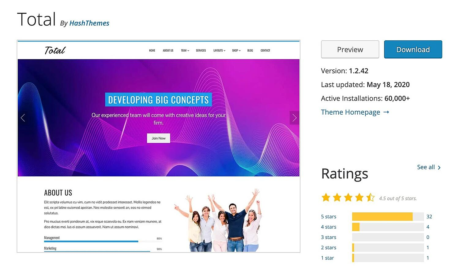 Total free WordPress blogging theme