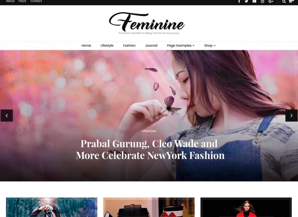 Feminine free WordPress blogging theme