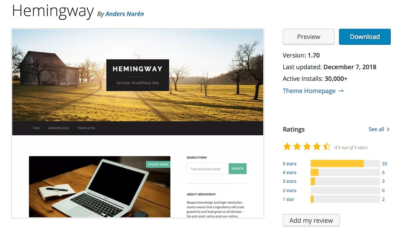 Hemingway free WordPress blogging theme