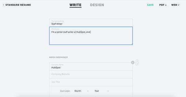Standard Resume Online Resume Builder.
