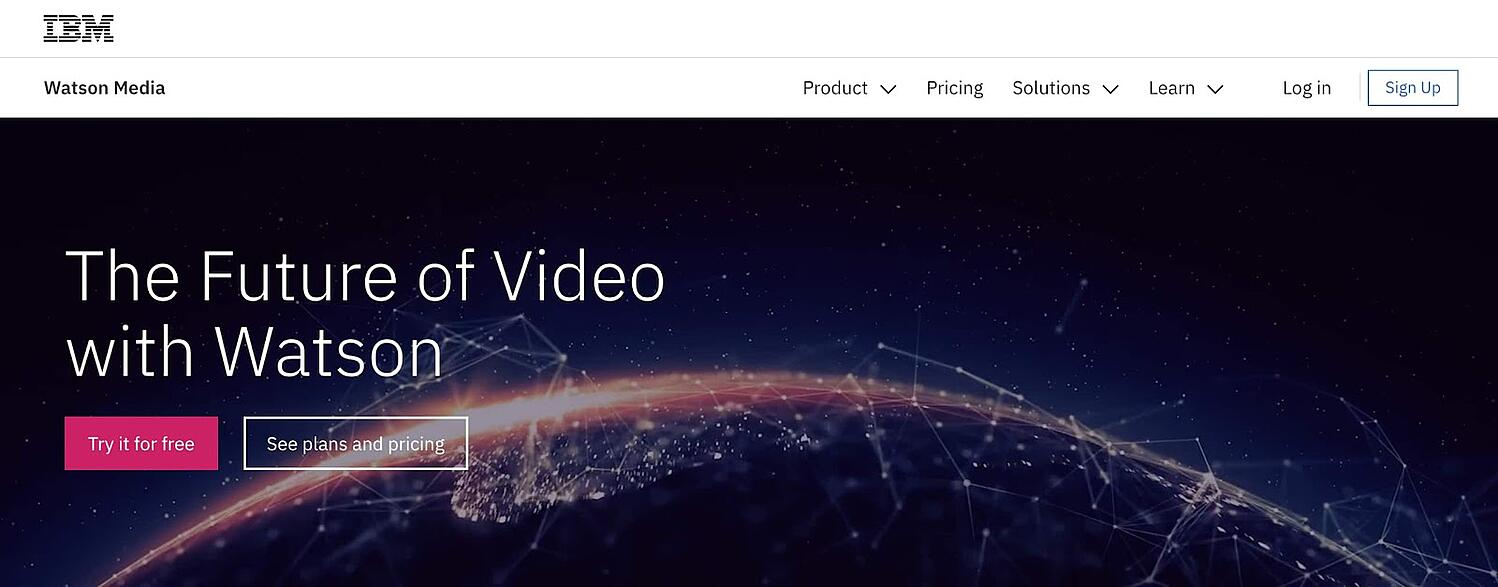 the landing page for the IBM video content management system