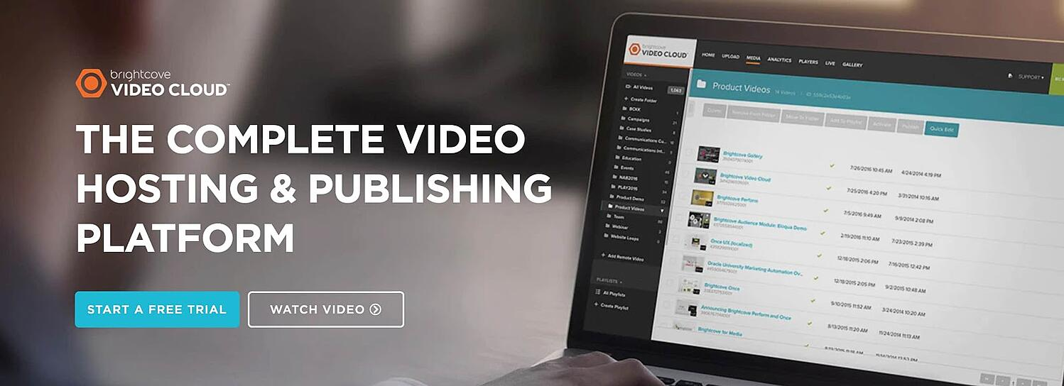 the landing page for the video content management system Brightcove