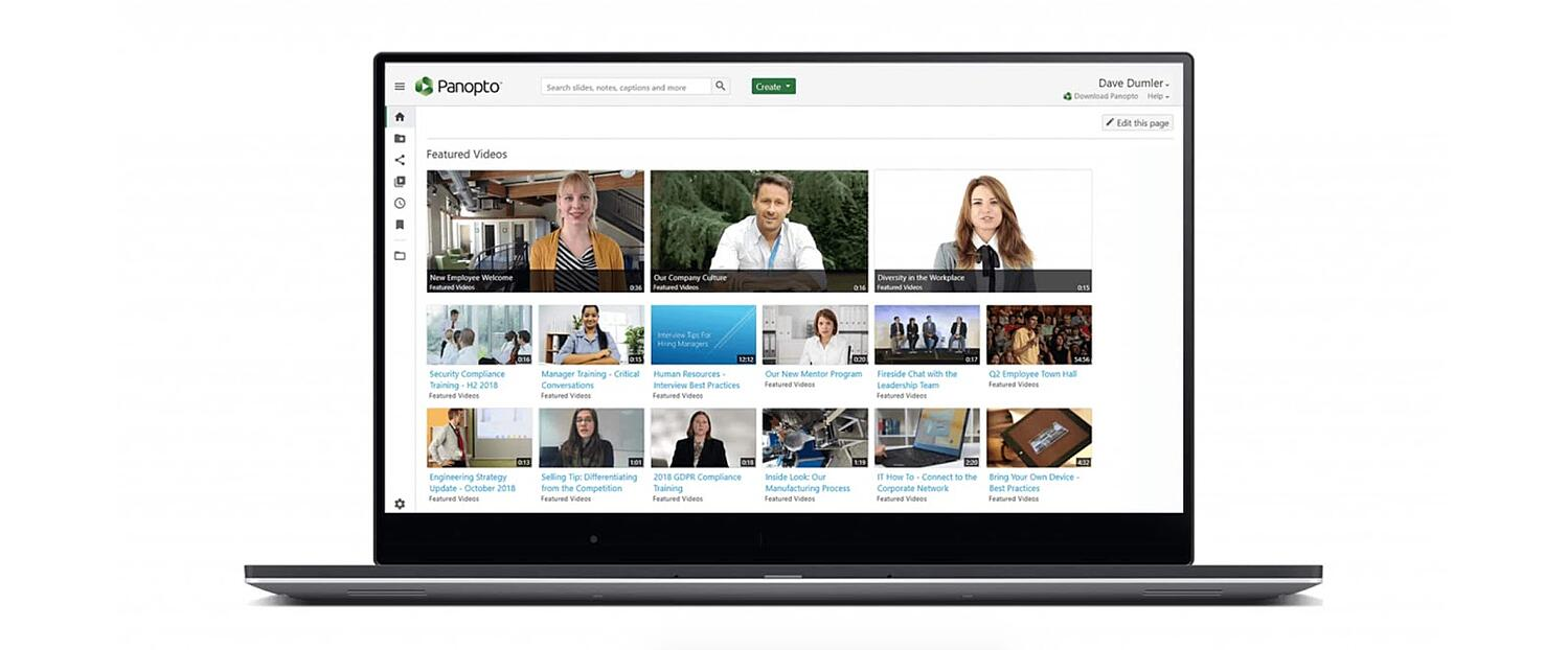 the landing page for the video content management system Panopto