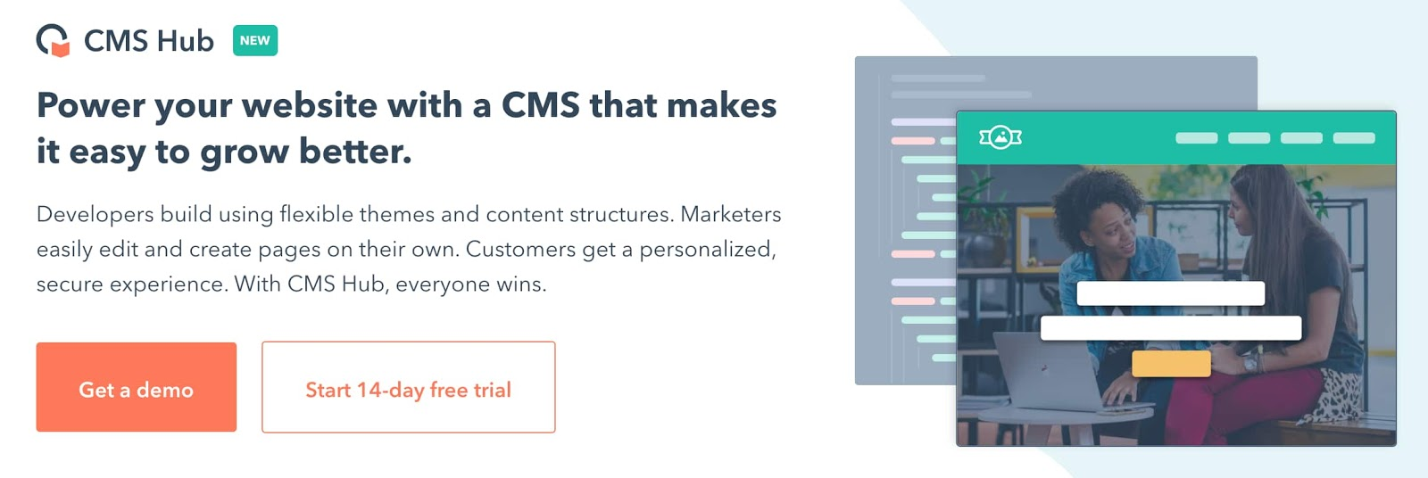 the landing page for the video content management system CMS Hub