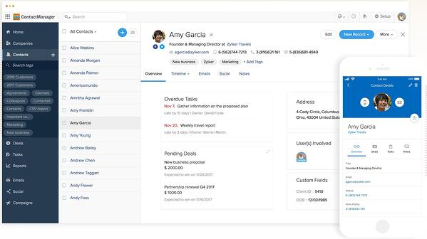 Zoho contact management software