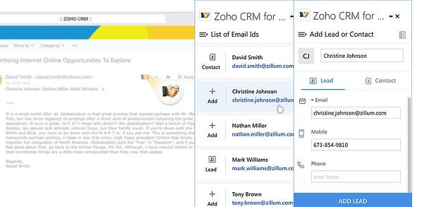 Zoho CRM Microsoft Outlook Integration