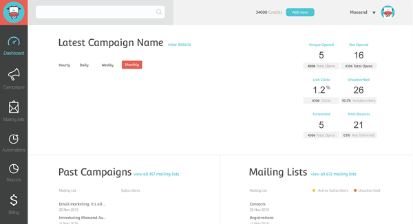 Moosend free email marketing software example