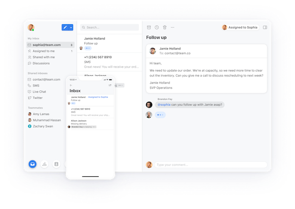 Front's shared inbox tool for customer service team email