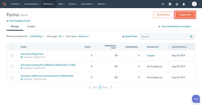 The Create form button in HubSpot form builder outlined in red (1)
