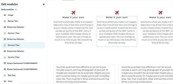 HubSpot landing page text blocks.