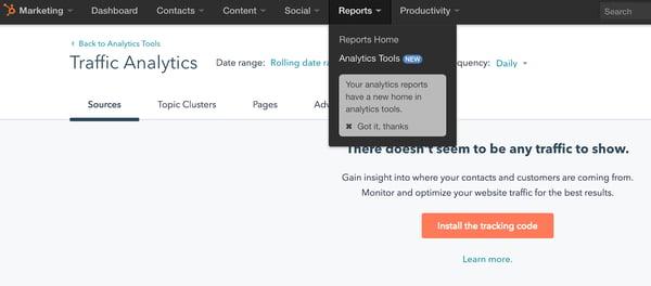 HubSpot分析工具。