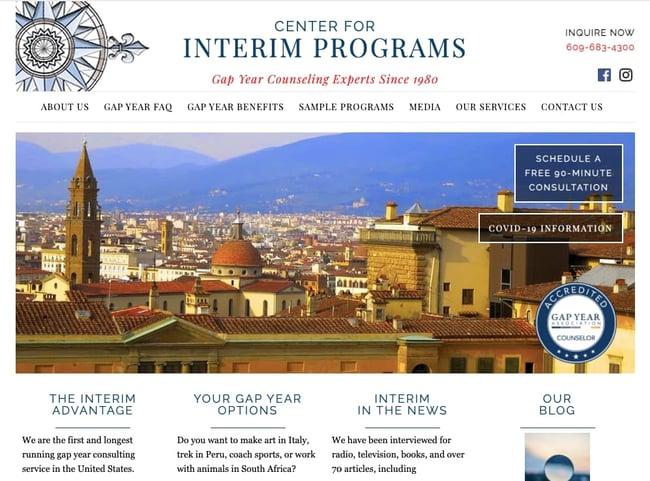 The Interim website build on the WordPress alternative Blogger