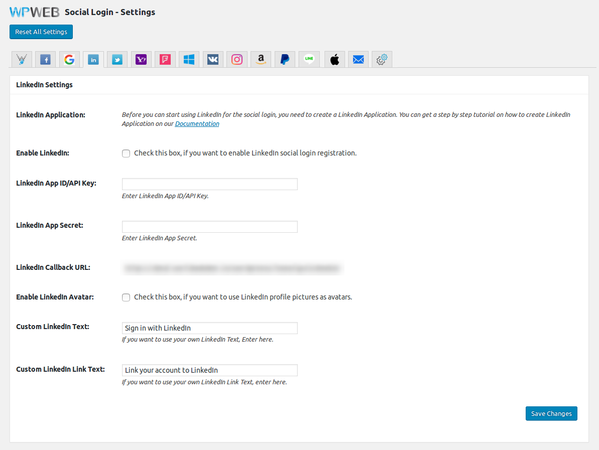 The LinkedIn Settings page for the WooCommerce Social Login plugin