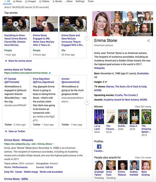 Semantic search for Emma Stone shows related interests.