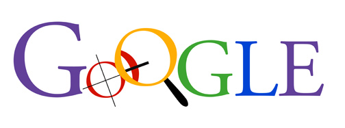 Early capitalized Google logo iteration with solid colors where the first O is a compass and the second O is a magnifying glass.
