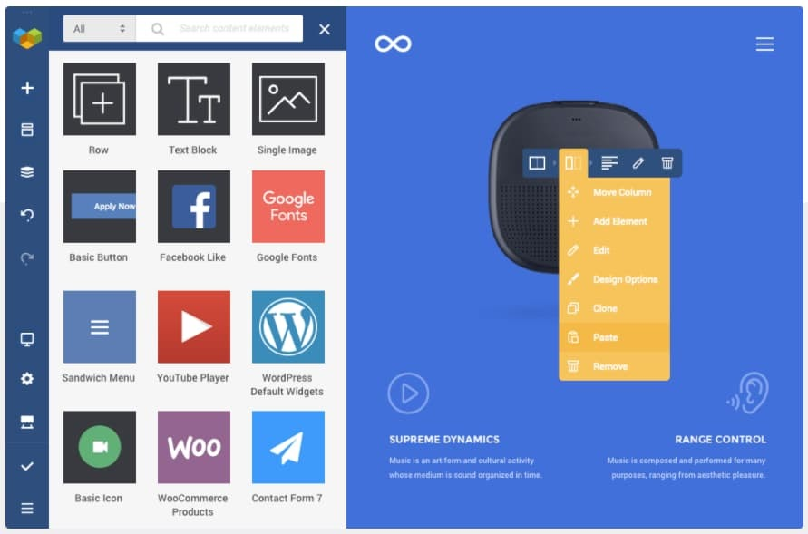 homepage for the WordPress page builder Visual Composer