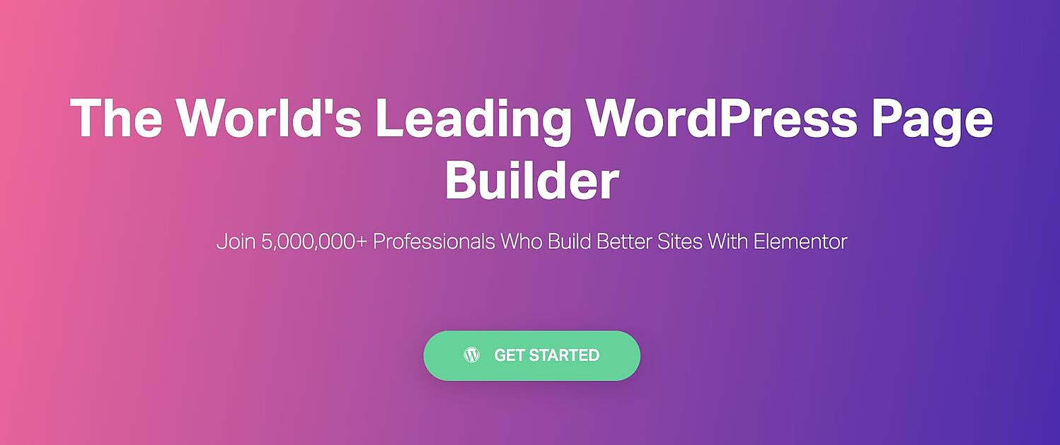 homepage for the WordPress page builder Elementor