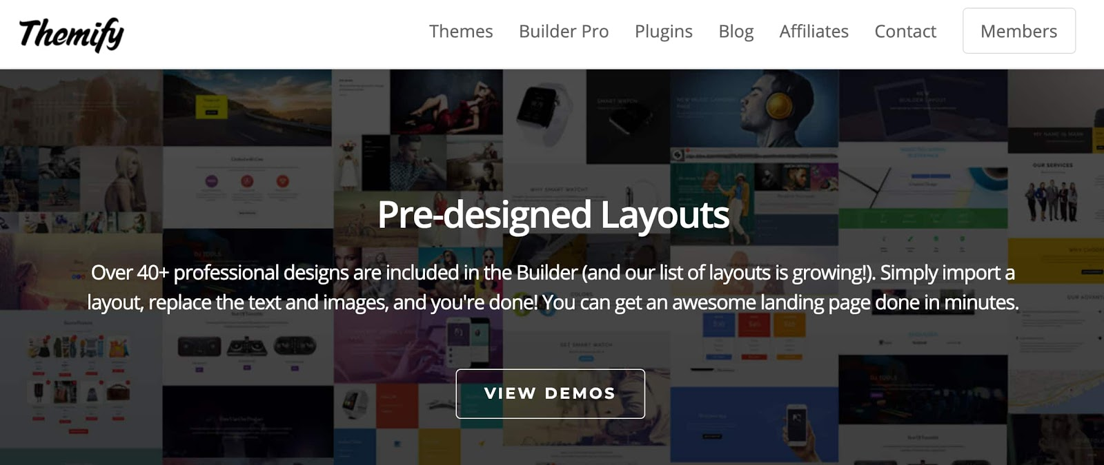 homepage for the WordPress page builder Themify