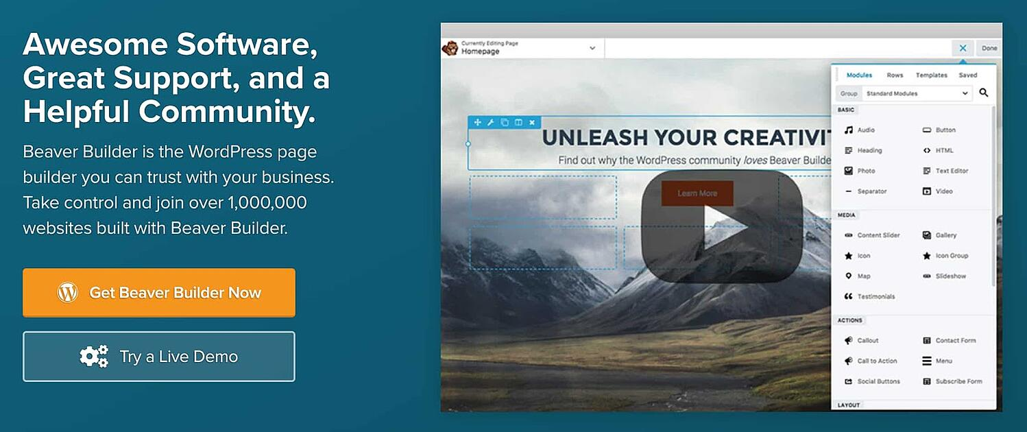homepage for the WordPress page builder Beaver Builder