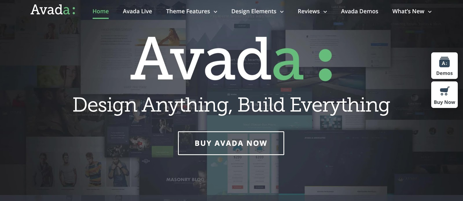 homepage for the WordPress page builder Avada