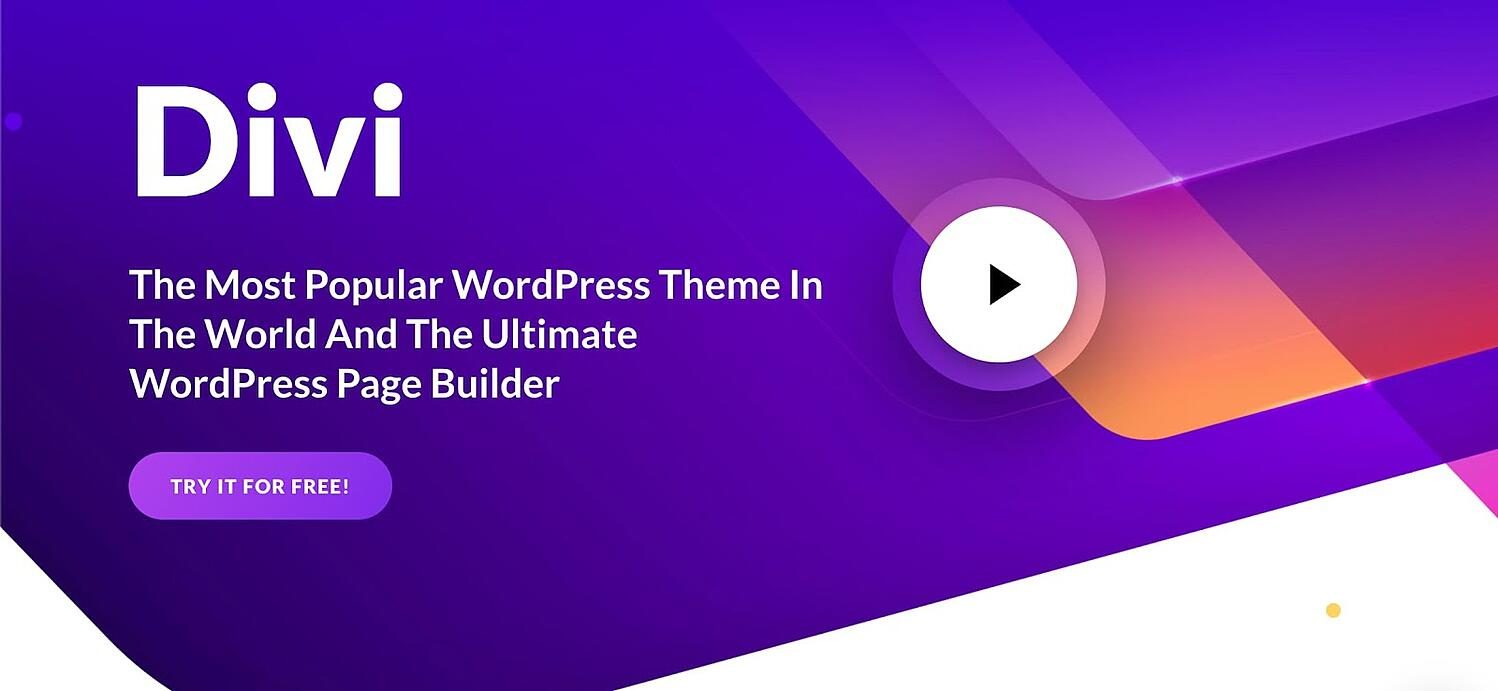 homepage for the WordPress page builder Divi