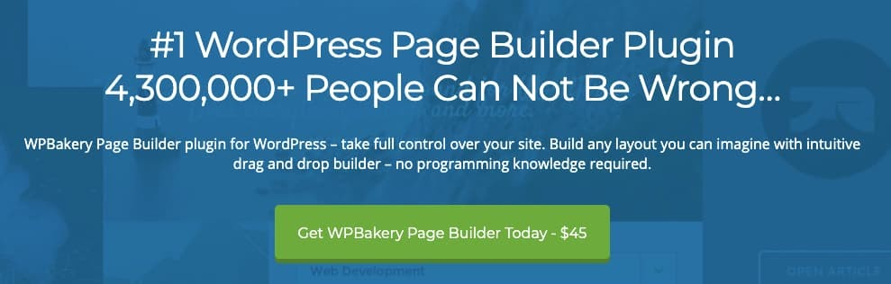 homepage for the WordPress page builder WPBakery