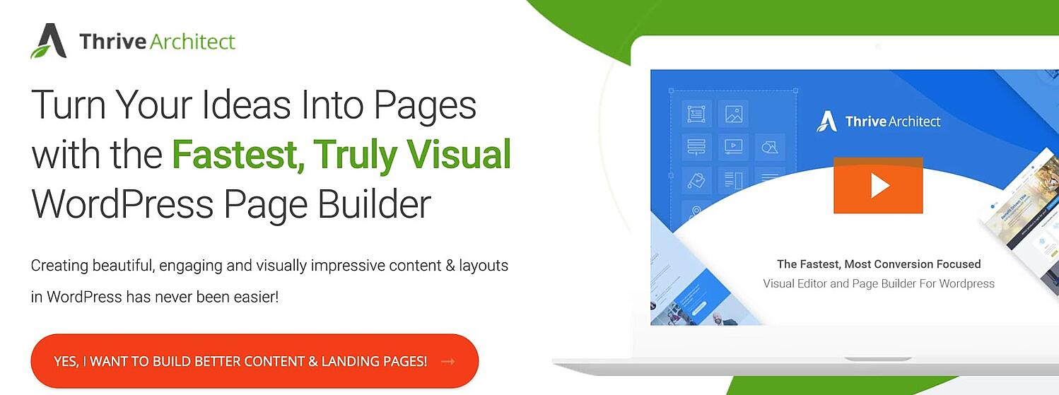 homepage for the WordPress page builder Thrive Architect