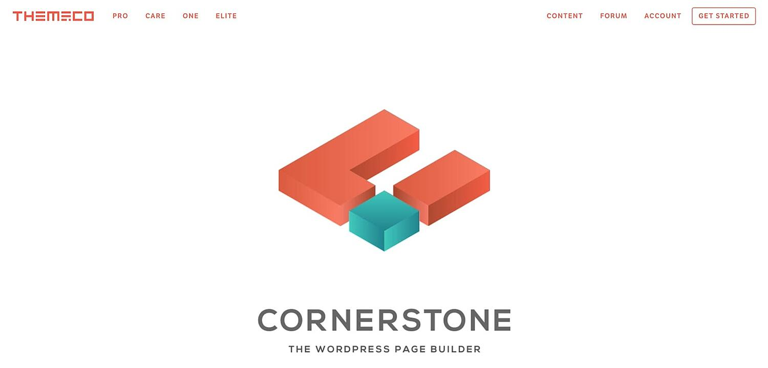 homepage for the WordPress page builder Cornerstone