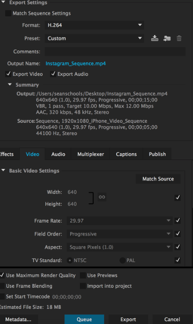 Adobe Premiere Pro settings for video export.