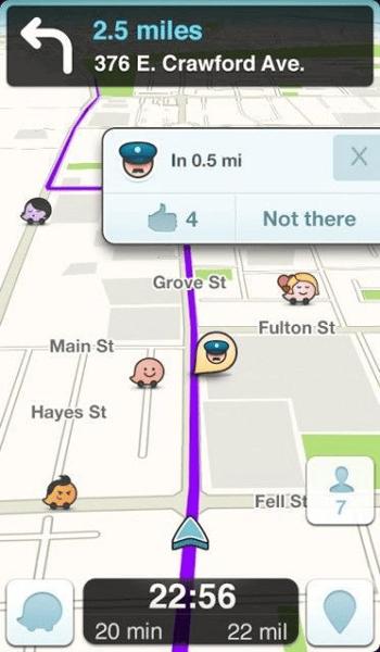 Waze, a crowdsourced traffic app.