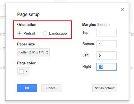 google docs page setup orientation