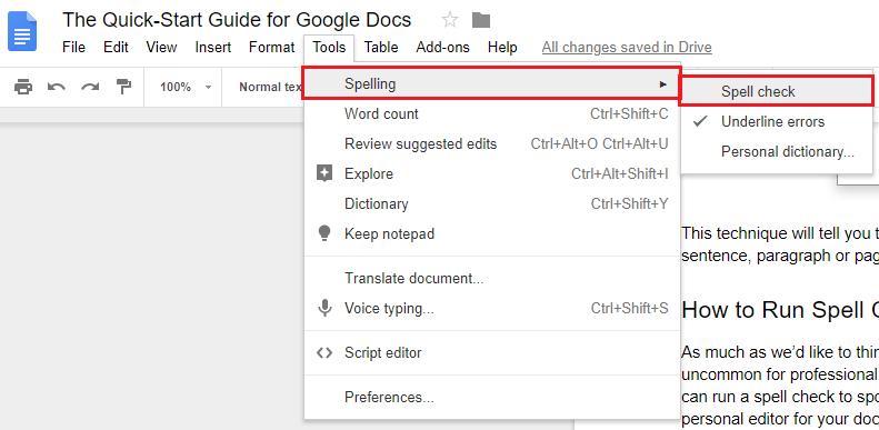 google docs spell check